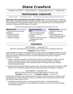 Caregiver Resume Sample