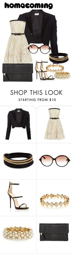 """Untitled #259"" by jae-sims ❤ liked on Polyvore featuring Yves Saint Laurent, Valentino, Vita Fede, Tom Ford, Giuseppe Zanotti, Tenri, R.J. Graziano and Clare V."