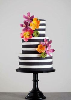 Beautiful Cake Pictures: Black & this would also look beautiful with cream and white stripes. White Striped Cake with Colorful Flowers: Cakes with Flowers, Colorful Cakes, Wedding Cakes Gorgeous Cakes, Pretty Cakes, Cute Cakes, Amazing Cakes, Fondant Cakes, Cupcake Cakes, Beautiful Cake Pictures, Striped Cake, Striped Wedding