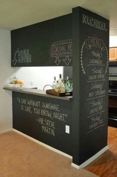 Basement wall behind bar