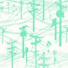 Grafic Telephone Poles Aqua
