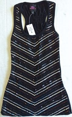 bebe Sequin Tank Top Blouse Stretch Sleeveless Smocking Black Size XS NWT #bebe #Top