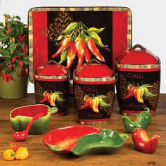 Certified International Chili Pepper Canisters, Set / 3 #CertifiedInternational