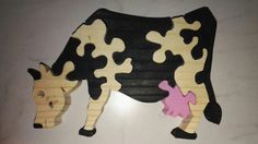 Wooden puzzle cow