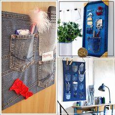 Veja e faça painel jeans organizador   Artesanato na Prática