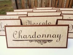 Vineyard Wedding Wine Table Name Place Cards by PapergirlStudios