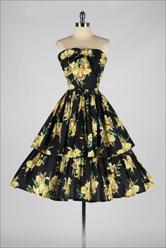 vintage 1950s dress . black yellow floral by millstreetvintage
