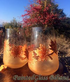 Autumn stemless crystal set of 2 Maple by PaintedGlassBiliana