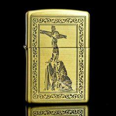 Etching Brass 3 Sides Jesus Zippo Lighter