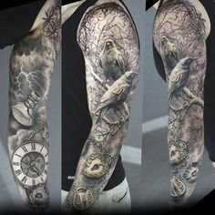 Birds In A Tree With Pocket Watch Mens Unique Sleeve Tattoos