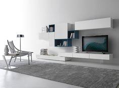 parete attrezzata bianca parete grigia - Cerca con Google