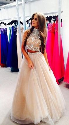 2016 Two Piece Crystals Long Prom Dresses High Neck Tulle Hollow Back Junior Vintage Party Dresses