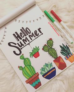 Summer Bullet Journaling! Cactus lover // plant lover! String lights. Hand lettering: prismacolor  Colors: crayola super tip markers