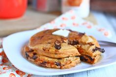 Sweet potatoe pancakes - hold the chocolate chips and add pecan butter and syrup.  Amazing