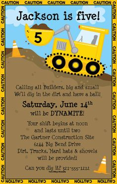 Caution Zone Party Invitations by Paper So Pretty - Invitation Box - could do this design too - like the caution tape