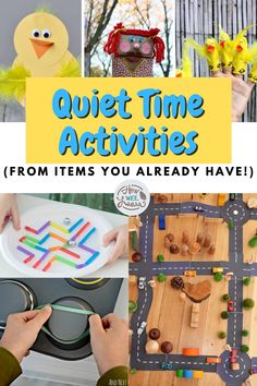 Perfect quiet time activities for kids to do. These quiet time activities are great for preschoolers and toddlers and use materials you already have at home making things nice and easy. Quiet Time Activities, Creative Activities For Kids, Kids Learning Activities, Arts And Crafts Projects, Imaginative Play, Toddler Preschool, Cute Crafts, Kids Playing, Toddlers