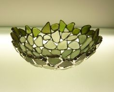 Small Soldered Sea Glass Bowl handmade by Sara Le Gris