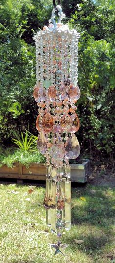 Rose Garden Waterfall Antique Crystal Wind Chime