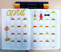 bullet journal idea | bujo monthly log using hexagon shapes, great for bee summer outdoor theme