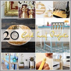The Cottage Market: 20 Gold Leaf Projects Rustic Crafts, Decor Crafts, Home Crafts, Fun Crafts, Diy And Crafts, Arts And Crafts, Leaf Projects, Diy Craft Projects, Crafty Craft
