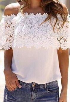 £: Chiffon Lace Blouse Shirts White Blusas New Zanzea 2015 Summer Women Sexy Slash Neck Tops Casual Off Shoulder Plus Size S-XXL Look Fashion, Womens Fashion, Hipster Fashion, Diy Vetement, Casual Tops, Casual Shirts, Chiffon Tops, White Chiffon, Floral Chiffon