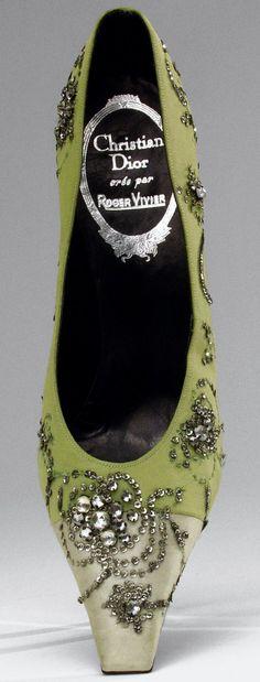 Roger Vivier - Christian Dior - Escarpins de Soirée - Soie, Strass et Sequins Argent - 1957
