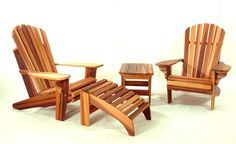 These free Adirondack chair plans will help you build a great looking chair in just a few hours, Build one yourself! Here are 18 adirondack chair diy Cedar Furniture, Furniture Plans, Rustic Furniture, Outdoor Furniture, Barrel Furniture, Bedroom Furniture, Adirondack Chair Plans Free, Adirondack Chairs, Deck Chairs