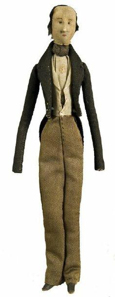 ca.1840, männliche Puppe aus Stoff, USA