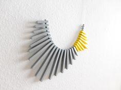 yellow grey geometric necklace, minimalist concept contemporary jewelry by pergamondo on Etsy https://www.etsy.com/uk/listing/470763326/yellow-grey-geometric-necklace