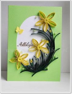 quilled flowers on card