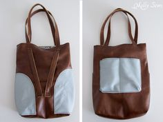 Front and back views - Sew a Leather Tote - Make a convertible leather tote bag that can be carried over the shoulder or backpack style - Melly Sews