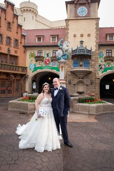 Rachel and Ian specially requested photos inside Biergarten Restaurant during their EPCOT bridal portrait session