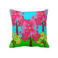 91d847b147ec Cute Summer Fun Pink Flower Trees Lollipop Forest Throw Pillows