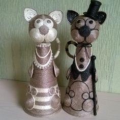 Мистер и мисисс Смит. Пара счастливых котиков из джута. #коты #кот #творчествовподарок #творчество #своимируками #ручнаяработа #handmade #jute #cat #cats #джут #джутовыйшпагат