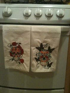 Sugar skull kitchen towels