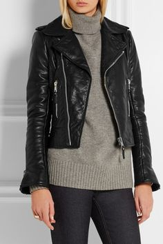 Black textured-leather Asymmetric zip fastening through front 100% leather (Lamb); lining: 100% rayon Dry clean ImportedSmall to size. See Size & Fit notes.
