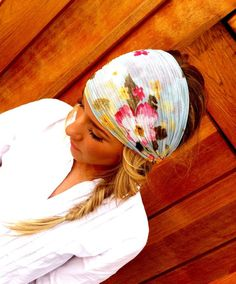 Floral Stretchy Gauze Headband - Light Blue Flower Print Head Scarf Women's Wide Hair Band Urban Turban Head Wrap Headband (HG-02). $22.50, via Etsy.