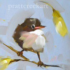 baby robin bird original oil painting by moulton by prattcreekart, $28.00