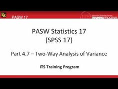 4.7 Two Way Analysis of Variance ANOVA: PASW (SPSS) Statistics