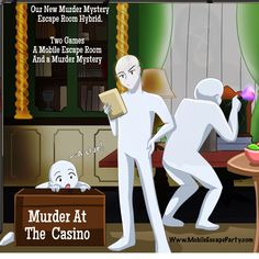 New Hybrid Mobile Escape Room and Murder Mystery. Two games for the price of one. Can you collect all the clues in the Escape Room to solve the Murder in Time.  Sold out until February 2020. Book your next casino party with www.DADsCasinoParty.com #casinoparty #murdermystery #escaperoom #escaperoommurdermystery #dadscasino #mobileescaperoom