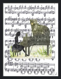 Piano Watercolor Print on Sheet Music Music by ThePaintersGarden