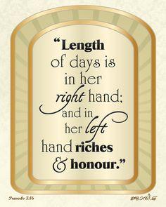 Proverbs 3:16 Art Print
