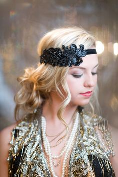 1920s Hair Accessories Black Beaded Sequin by AdorningBeautyCo