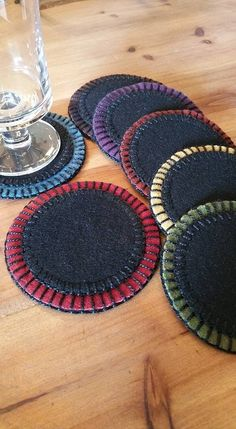 Wool felt coasters - pic for inspiration More Wool felt coasters - pic for ins .Wool felt coasters - pic for inspiration More Wool felt coasters - pic for inspiration MoreSet of felt coasters / Penny Rug Patterns, Wool Applique Patterns, Felt Applique, Penny Rugs, Felted Wool Crafts, Felt Crafts, Felt Coasters, Wool Embroidery, Wool Art
