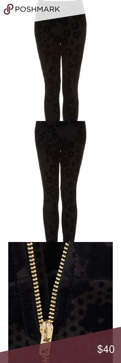 Velvet Daisy Leggings So unique and beautiful • stretchy leggings flocked with daisies and dots • gold side zip • Topshop Pants Leggings