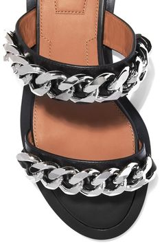 Slight heel Black leather Silver chain embellishments, open almond toe Slip on Made in Italy