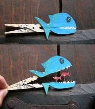 little fish big fish. make those little fish Jonah and I think I have a fab Sunday School craft! Bible Crafts, Crafts To Do, Crafts For Kids, Arts And Crafts, Paper Crafts, Clothespin Crafts, Simple Kids Crafts, Cool Crafts, Paper Glue