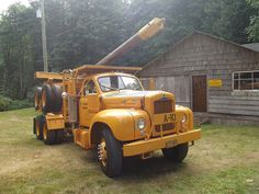 My Great- Grandfather drove this truck originally and years later my Papa restored it!~ Simply amazing what you find on here! 1955 Mack, B body,  logging truck.