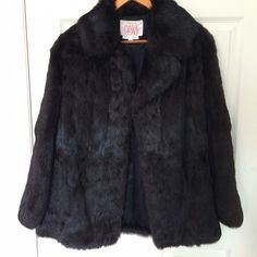 Vintage Black Fur Jacket- AMAZING CONDITION This fur jacket is literally in phenomenal condition.  Selling because it's. A little too large on the fit for my liking. Could fit an XS-M, depending on how you like your coats to fit. This is REAL fur. Pockets on side. Loops for a belt... I didn't buy it with one and honestly wouldn't wear one. It's cute open. Vintage Jackets & Coats