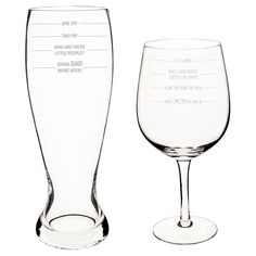 Mother's Day and Father's Day Measuring Drinking Glasses, Clear